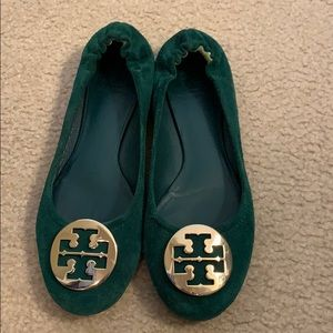 Tory Burch Reva flats- green suede with gold logo